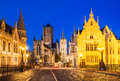 Gent belgium night image of saint nicholas church and belfry tower one of famous landmarks of ghent in flanders Royalty Free Stock Image