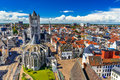 Gent belgium skyline of ghent in west flanders seen from belfort tower with st nicholas church Royalty Free Stock Images