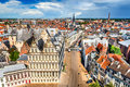 Gent flanders belgium skyline of ghent gand in west seen from belfort tower with st jacob church Royalty Free Stock Photography