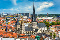 Gent flanders belgium skyline of ghent gand in west seen from belfort tower with st jacob church Royalty Free Stock Photo