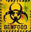 Gentecially modified food warning sign organism Stock Images