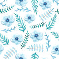 Gentle Blue Flowers and Leaves Seamless Pattern