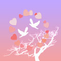 Gentle card to the valentine s day lovely with two birds Royalty Free Stock Photography