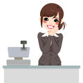 Gentle cashier woman beautiful asian ready to attend customer Royalty Free Stock Image