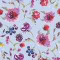 Gentle Fall Watercolor Vintage Seamless Pattern with Purple Chrysanthemum