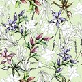 Gentle floral background. Vector seamless pattern with spring flowers in pastel colors Royalty Free Stock Photo