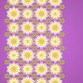 Gentle floral seamless border on violet background.