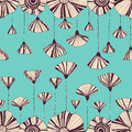 Gentle hand drawn seamless abstract vintage flower Royalty Free Stock Photo