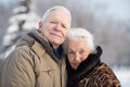 Gentle portrait of an elderly couple in winter Royalty Free Stock Photo