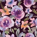 Gentle Purple Watercolor Roses Floral Seamless Pattern Royalty Free Stock Photo