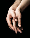 A gentle touch of two hands. Royalty Free Stock Photo