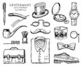 Gentleman accessories. hipster or businessman, victorian era. engraved hand drawn vintage. brogues, mustache, shirt and