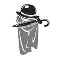 Gentleman black hat with umbrella and grey cape