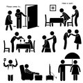 Gentleman courteous man boyfriend husband a set of human pictogram representing the process of a courting a woman Royalty Free Stock Photography