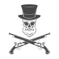 Gentleman of fortune skeleton with beard glasses top hat and flint guns victorian rover logo template Stock Photo