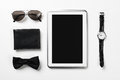 Gentleman kit of tablet watch glasses bow tie and notebook on wo