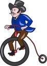 Gentleman Riding Penny-farthing Cartoon Royalty Free Stock Photo