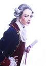Gentleman young woman in gallant cavalier image Royalty Free Stock Photo