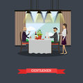 Gentlemen in restaurant concept vector illustration in flat style. Royalty Free Stock Photo