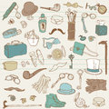 Gentlemen's Accessories doodle collection Stock Photos