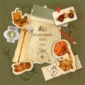 Gentlemen scrapbooking set paper with vintage sketch accessories vector illustration Stock Photos