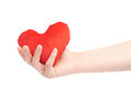 Gently holding plush red heart isolated toy with one hand composition over the white background Stock Photography