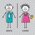Gents and ladies WC sign for restroom. WC icon. Men and women WC sign for restroom of cafe, restaurant, shopping center Royalty Free Stock Photo