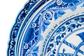 Genuine ancient dutch blue and white porcelain dishware with text amsterdam Stock Photos