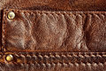 Genuine brown leather with seam background pattern texture Royalty Free Stock Image