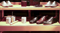Genuine leather shoes and accessories collection of for men on display Stock Image