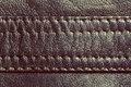 Genuine vintage leather with seam background pattern texture Stock Image