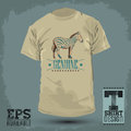 Genuine zebra vintage t shirt design vector print template Stock Photography