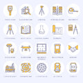 Geodetic survey engineering vector flat line icons. Geodesy equipment, tacheometer, theodolite, tripod. Geological