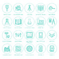 Geodetic survey engineering vector flat line icons. Geodesy equipment, tacheometer, theodolite, tripod. Geological Royalty Free Stock Photo