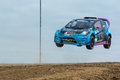 Geoff Sykes rally driver jumps Royalty Free Stock Photo