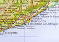Geographic map of European country Spain with Barcelona city Royalty Free Stock Photo
