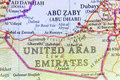 Geographic map of United Arab Eirates with important cities