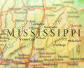 Geographic map of US state Mississippi with important cities Royalty Free Stock Photo