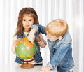 Geography lesson elementary kids on Royalty Free Stock Photos
