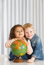 Geography lesson elementary kids on Stock Photography