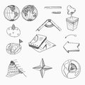 Geography lesson school objects and educational equipment cartography topography education linear hand drawn icons Stock Image