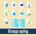 Geography set of educational icons for studying and travel Stock Photo