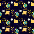 Geography themed seamless pattern. Back to school collection.