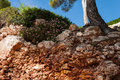 Geologic erosion on beach in mallorca Royalty Free Stock Images