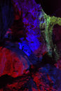 Geologic feature of yuhua cave fujian south of china lighting colorful inside a karst located in taining province Stock Images