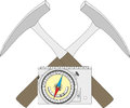 Geological compass, geological hammer and a block diagram. Royalty Free Stock Photo