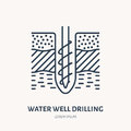 Geological survey, engineering vector flat line icon. Geodesy equipment. Geology research illustration. Water well Royalty Free Stock Photo
