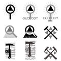 Geology emblem set of emblems and line length on the topic illustration Stock Photography