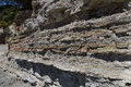Geology layers of strata in a seaside sandstone cliff Stock Image