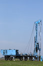 Geology and oil exploration drilling rig vehicle mobile Stock Photos